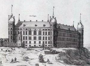 Slottet som det avbildades i Suecia antiqua et hodierna (Det forna och det nuvarande Sverige) 1690.