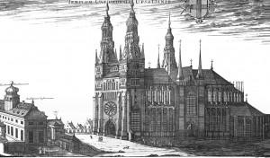 Uppsala domkyrka som den avbildades av Erik Dahlberg i Suecia antiqua et hodierna (Det nya Sverige och det gamla) 1690.