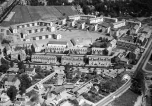 Flygfoto över Rackarberget och Studentrstaden, 1966.  Foto: Flygtrafik AB