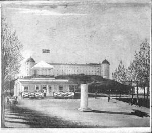 Paviljongen från 1840-talet.  Oljemålning av Högstadius. Foto: Okänd